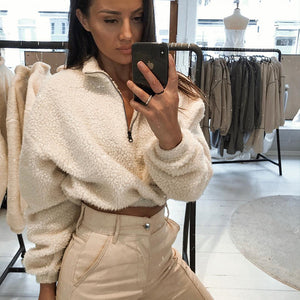 Faux Lambswool Cropped Jacket
