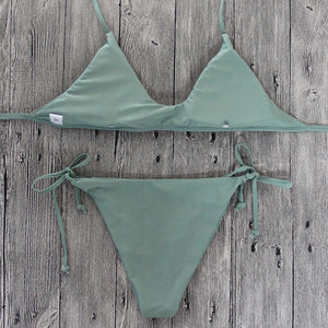 Bikini Set Army Green Padded Push-Up Bra