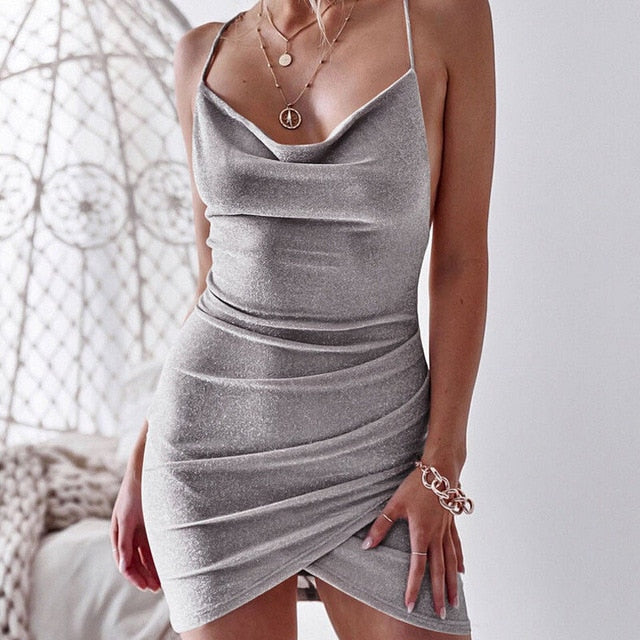 Sparkly Backless Mini Dress
