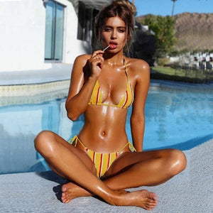 Striped Brazilian Bikini Set