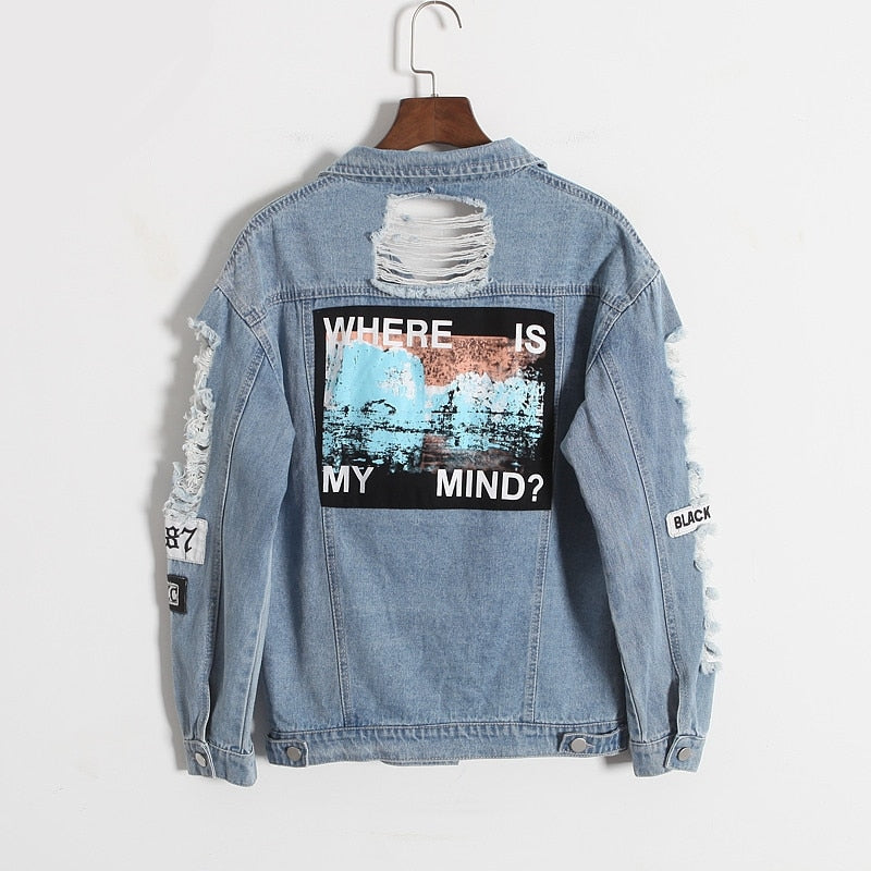 Where Is My Mind Embroidery Jean Jacket