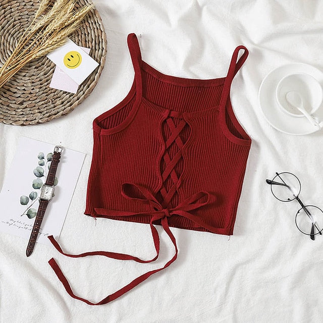 Knitted Cropped Tank Top