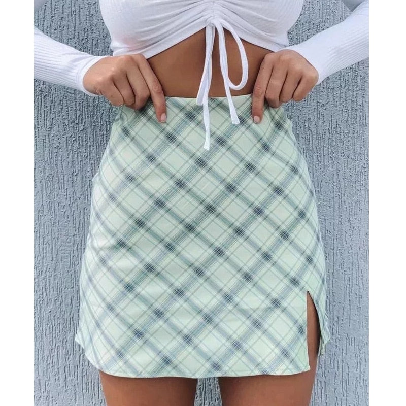Women Side Split Check Mini Skirt