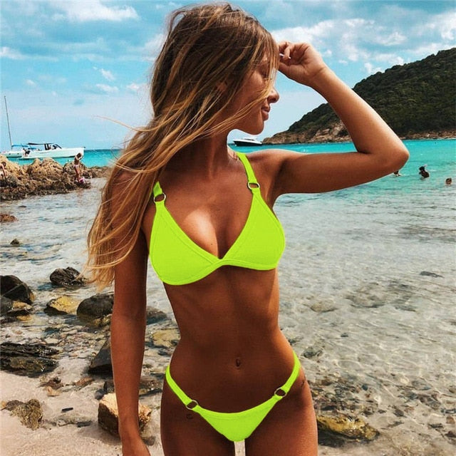 Solid Bikini Set Low Waisted