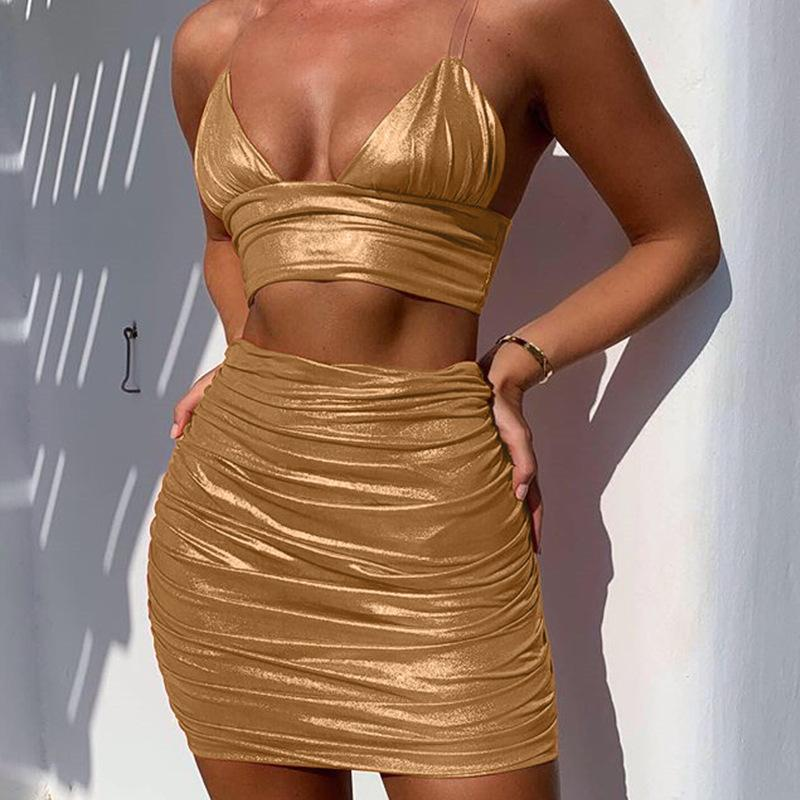 V Neck Backless Two Piece Dress