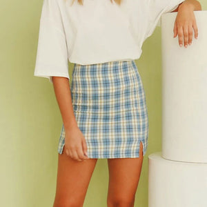 Plaid High Waist Mini Skirt