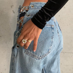 Side Cross Chain High Waist Jeans