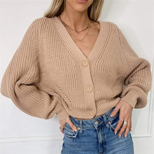 V Neck Knitted Cardigan