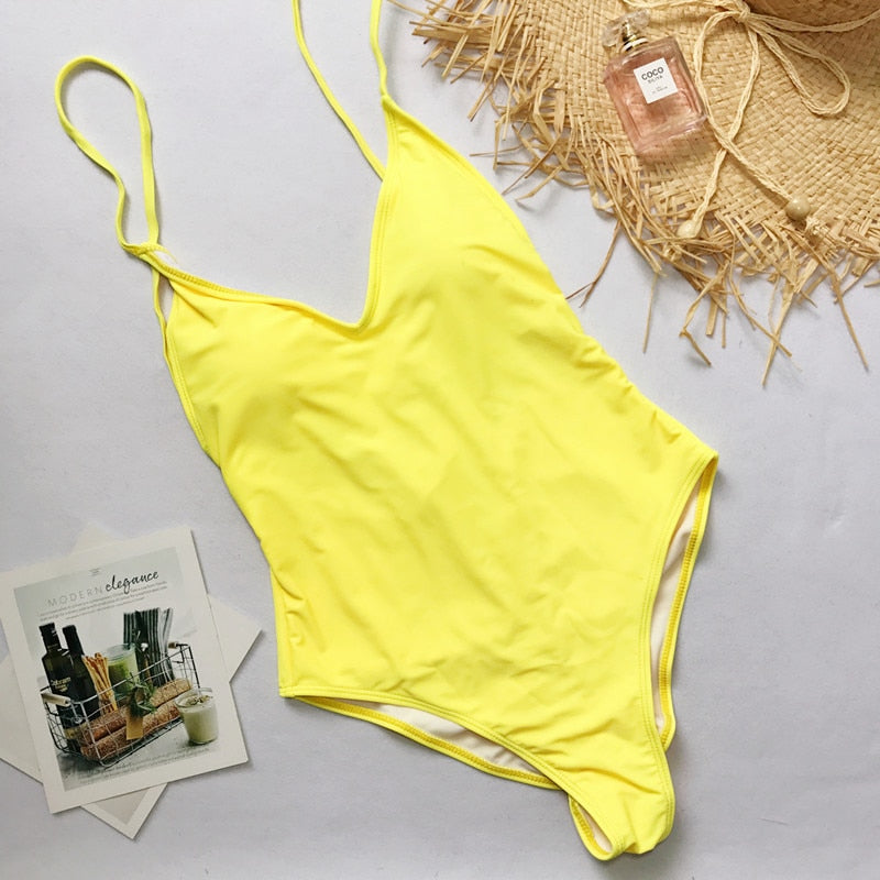 Solid One Piece High Cut Swimsuit