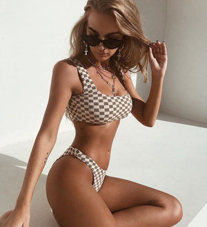 Plaid Two Piece Bikini Set