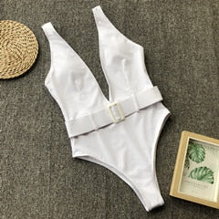 V Neck Buckle One Piece