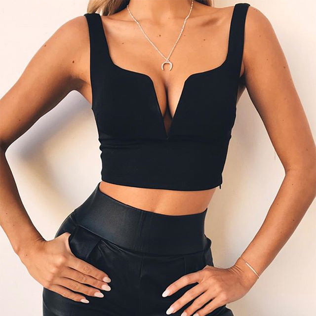 V Neck Solid Crop Top