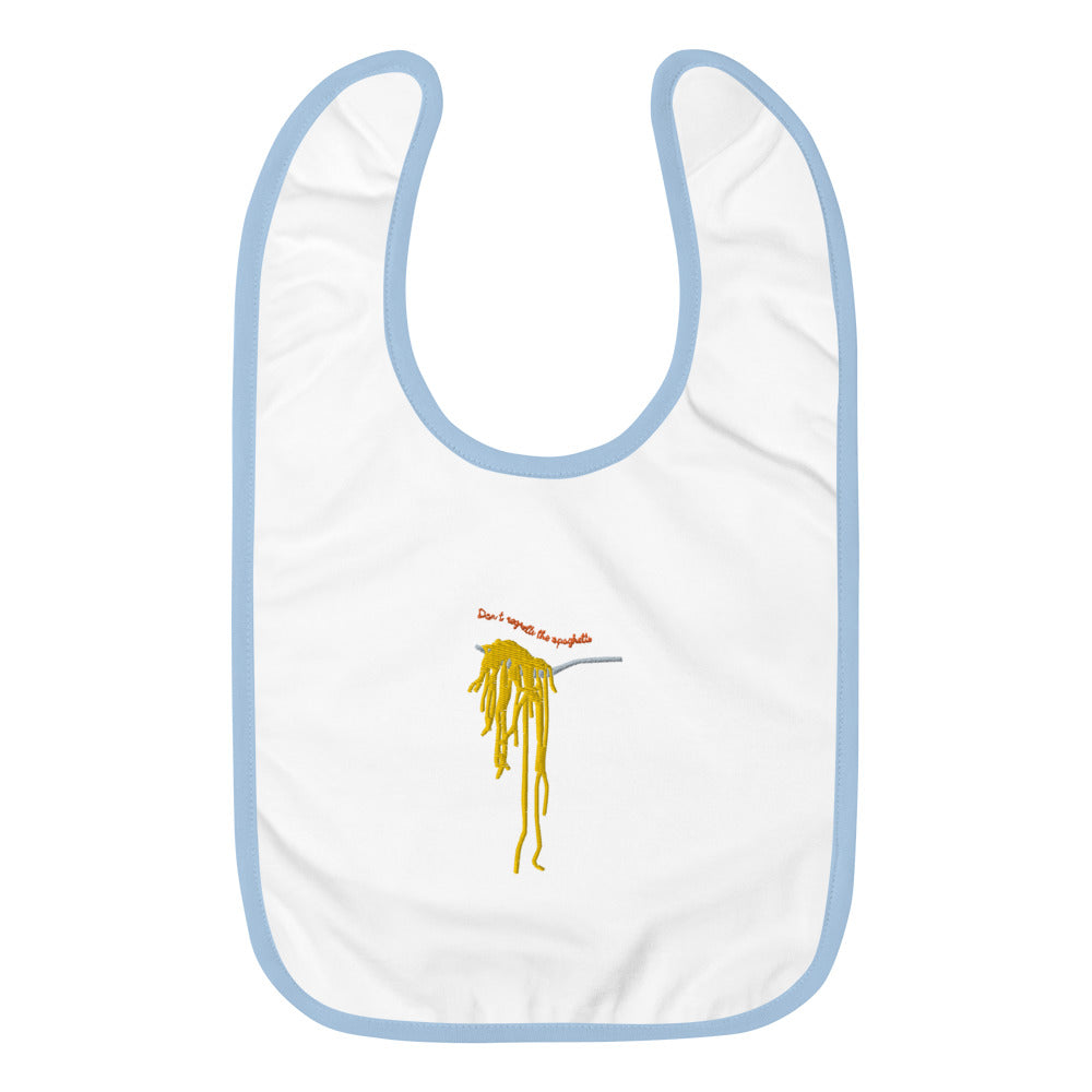 Embroidered Baby Bib - Dont regretti the spaghetti