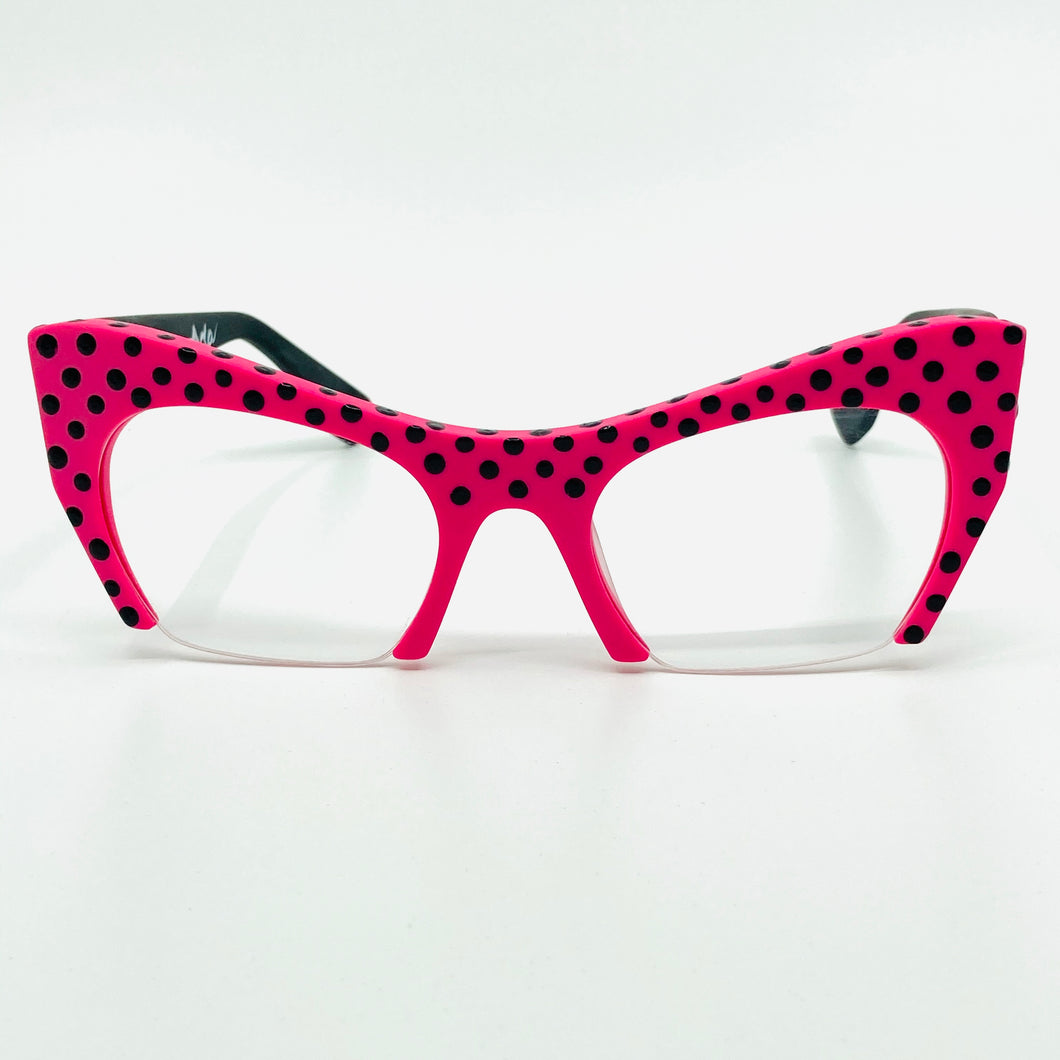 Bold Pink/Black Half Rim Cat Eye