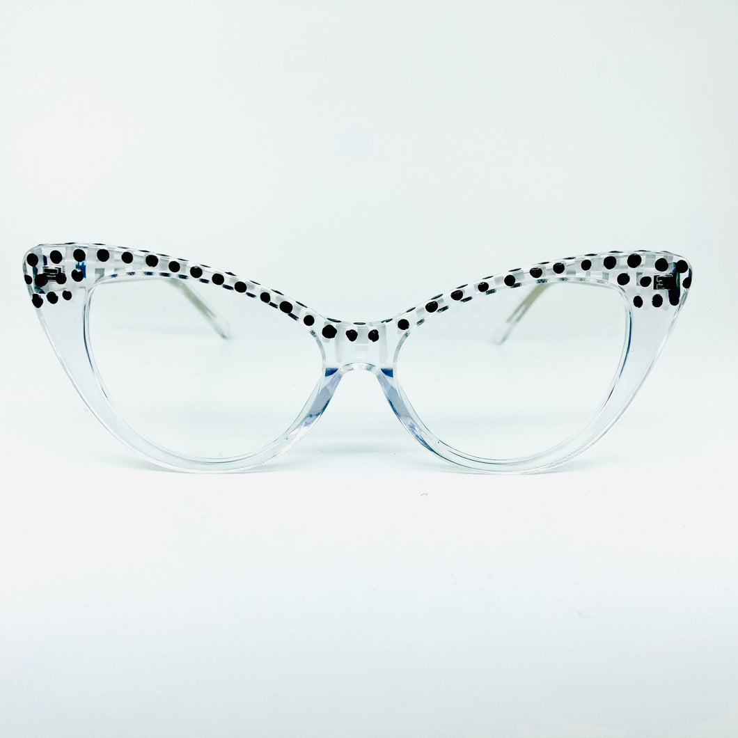 Black/White Dots & Stripes Crystal Cat Eye