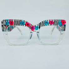 Load image into Gallery viewer, Stripes and Flowers Oversized Square Cat Eye Glasses