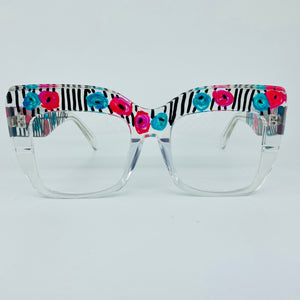 Stripes and Flowers Oversized Square Cat Eye Glasses