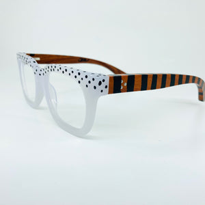 Wooden Arm with Frosted Classic Retro Glasses