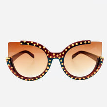 Load image into Gallery viewer, Red/Bronze Dot Missing Rim Cat Eye SunGlasses