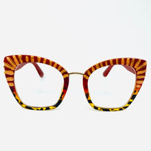 Load image into Gallery viewer, Bejeweled Striped Oversized Squared Cat Eye