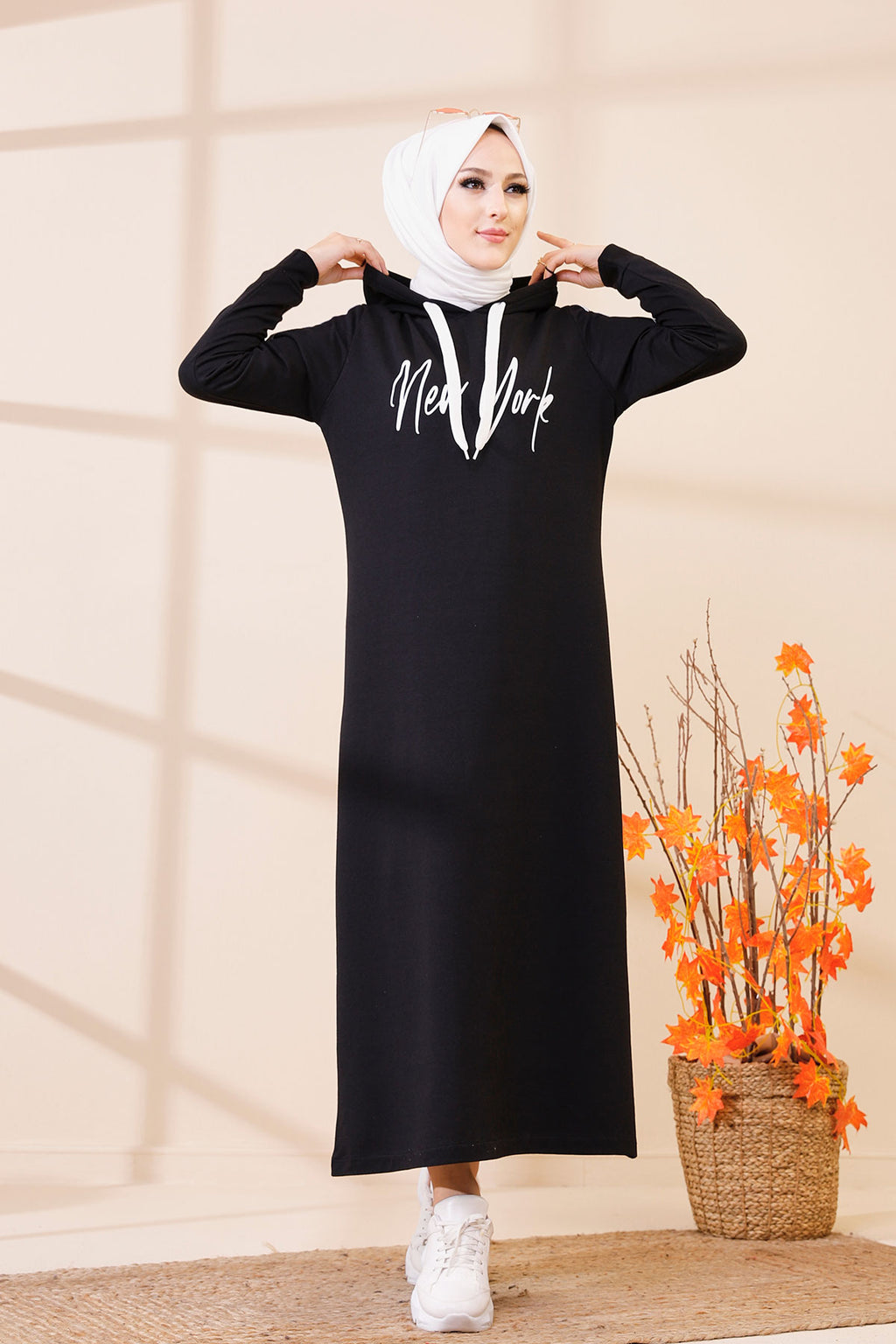 Hooded Dress Black - 3395