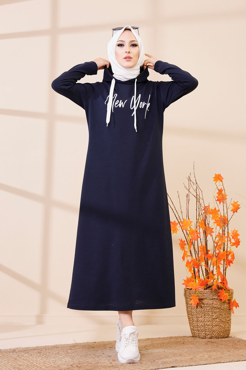 Hooded Dress Navy Blue - 3395