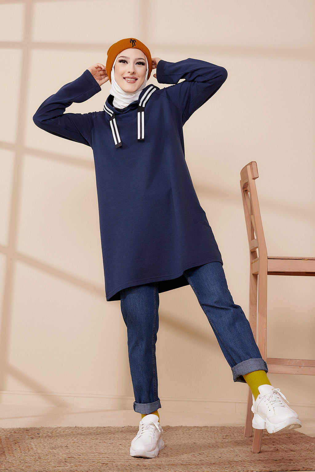 Hooded Tunic Navy Blue - 8358