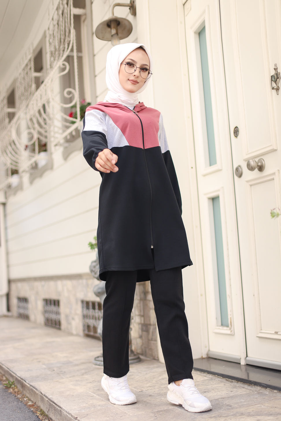 Hooded Tunic Pant Rose - 4129