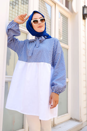 Plaid Tunic Blue - 3255