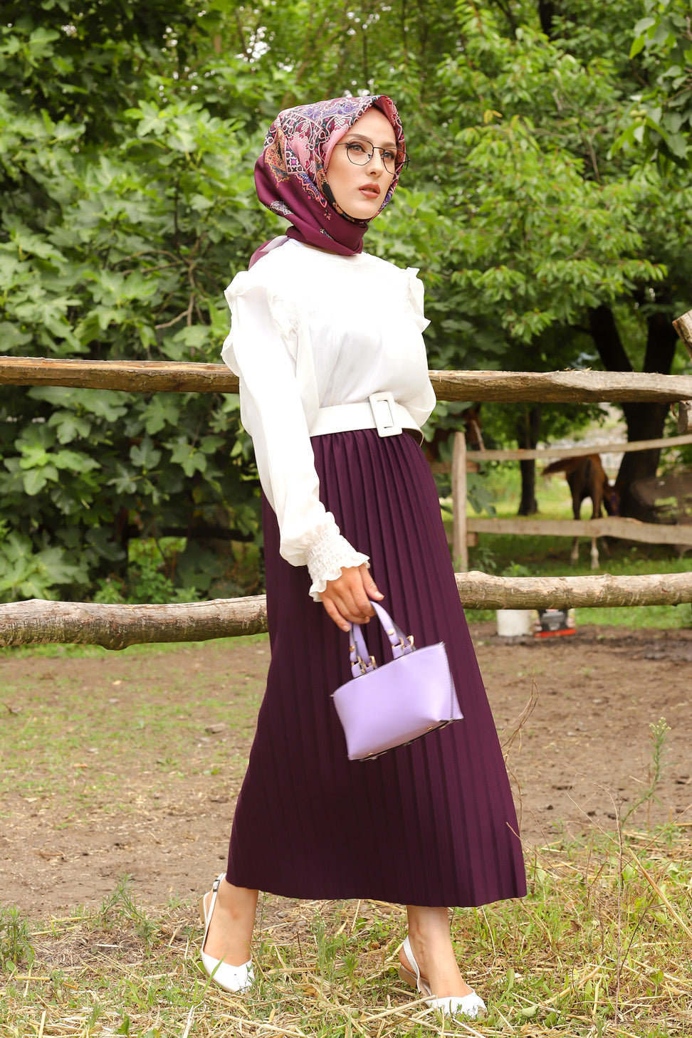 Etek Pleated Damson - 3234