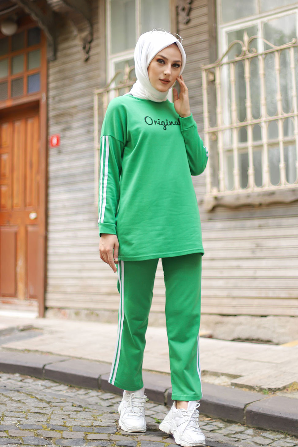 Tunic and Pants Green طقم توينك اخضر - 8401 - meesk
