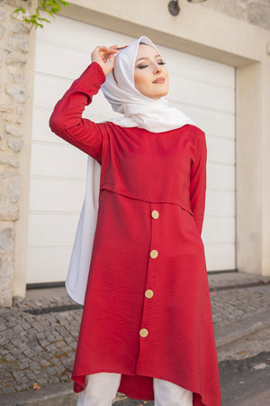 Tunic Button Detailed Claret Red - 3021