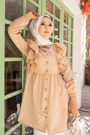 Tunic Frilly Light Beige - 3126