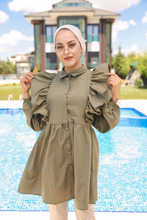 Tunic Frilly Light Khaki - 3126
