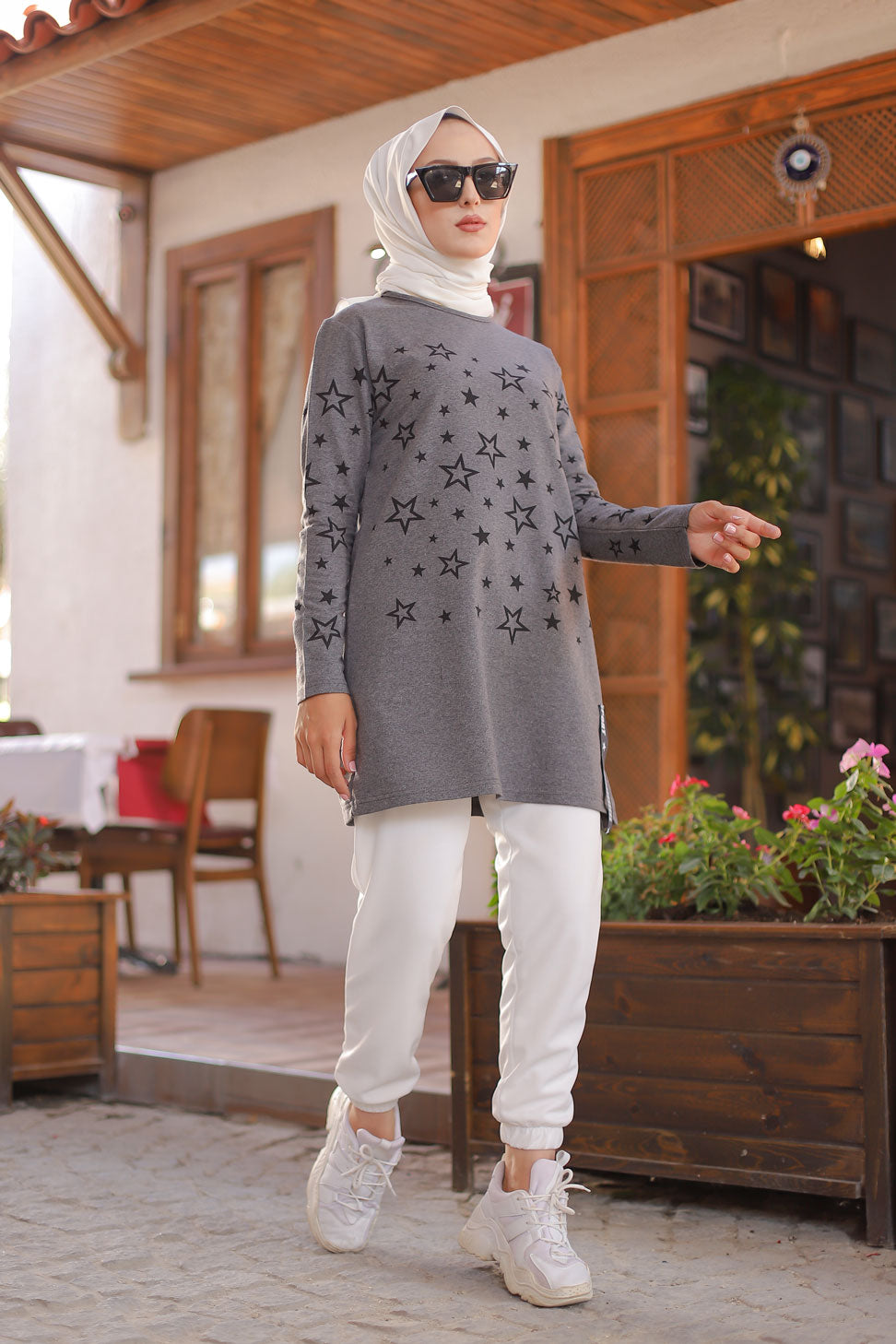 Tunic Star Printed Dark Gray - 8385