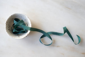 Wildwood, forest green silk ribbon