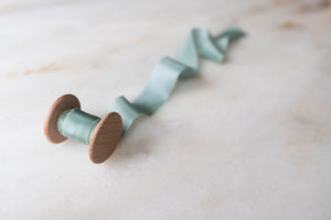 Seaglass, blue-green silk ribbon
