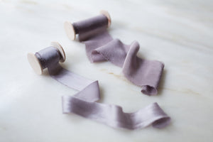 Heather, mauve silk ribbon