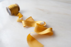 Mustard, yellow silk ribbon