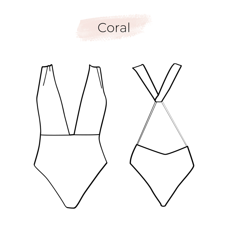 Swimsuit pattern Coral