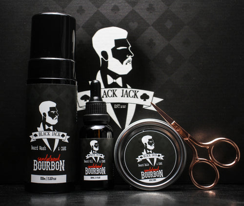 Sandalwood Bourbon Beard Deluxe Kit - Black Jack Gentlemen's Grooming