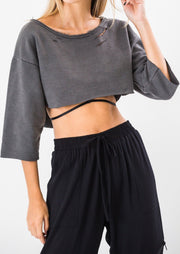 Moletom cropped cinza estonado
