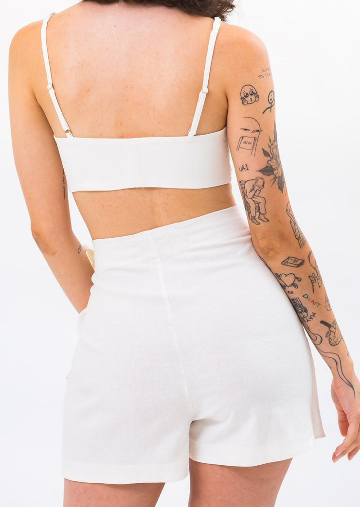 Short Saia Laço Off White