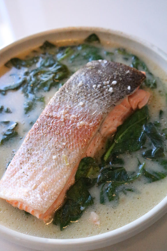 Poached Trout, spinach & Fumet Sauce