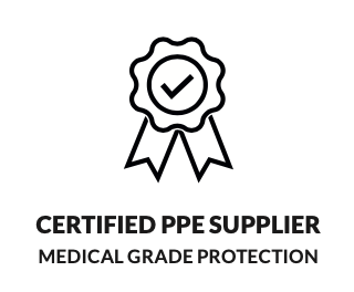 Symbols showing the benefits of buying products from Medworx including Certified PPE Supplier