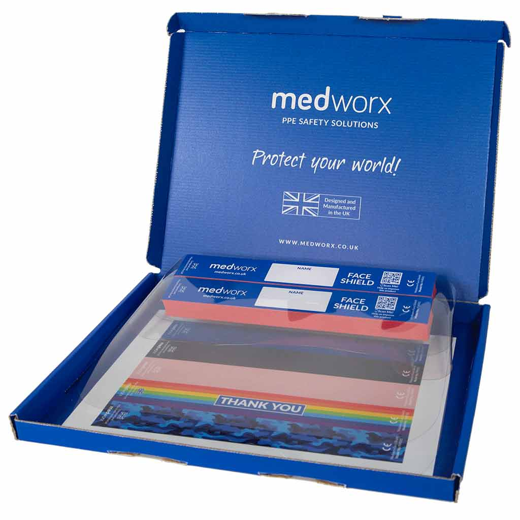 Medworx PPE face shield pack containing 2 face shields and 1 sticker sheet for personalisation within a Medworx blue box.