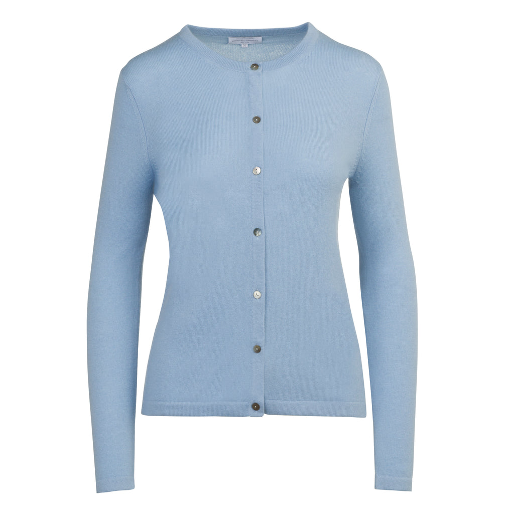 Cashmere Crew Neck Cardigan in Powder Blue