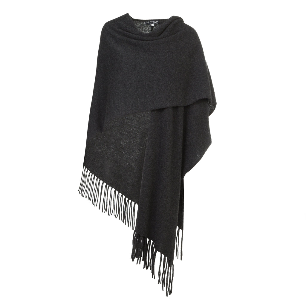Women's Cashmere Wrap Stole in Charcoal Grey
