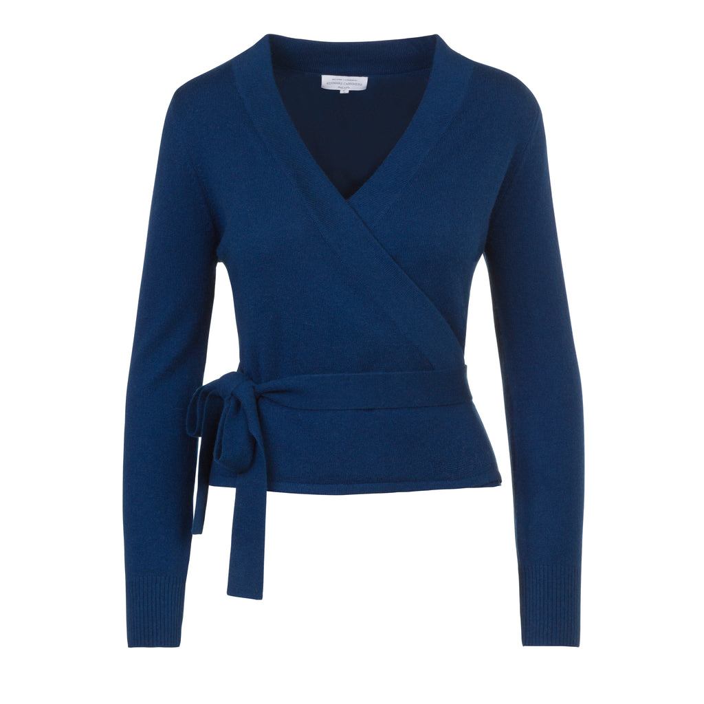 Crossover Wrap Cardigan in French Navy