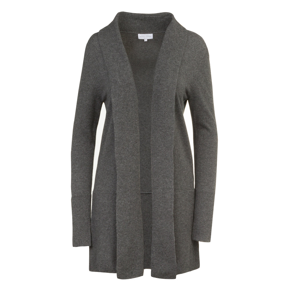 Cashmere Edge to Edge Cardigan in Charcoal Grey